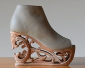 Tiger Lily 2 - Hand Carved Wood Platform Wedge Heel
