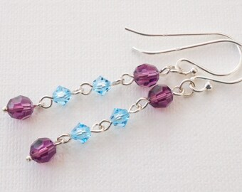 Blue and purple earrings, crystal earrings, sterling silver earrings, aqua and magenta crystal earrings, long lightweight earrings