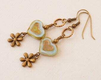 Aqua blue earrings, heart earrings, flower earrings, Czech glass earrings, sea foam glass earrings, Picasso bead earrings, Trinity Brass
