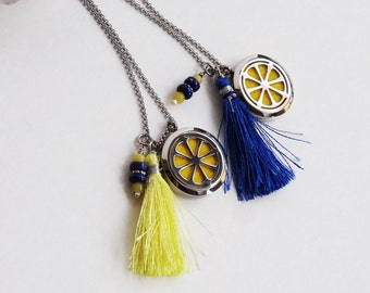 Stainless Steel Diffuser Necklace - Lemon Yellow - Stainless Diffuse - Tassel
