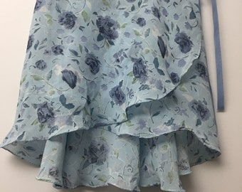 Pale and dark blue floral ballet wrap skirt - Long