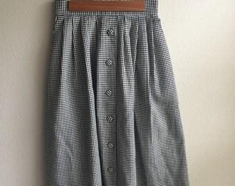 Houndstooth Button Up Skirt
