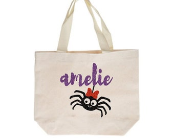 Personalized Halloween Trick-or-Treat Bag, Trick or Treat Bag for Girls, Personalized Spider Bag, Halloween Bag, Glitter Halloween Tote