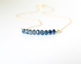 Sapphire necklace - blue sapphire necklace - dainty necklace - everyday necklace - gemstone bar necklace - september birthstone necklace