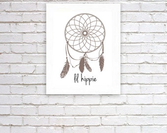 Dream catcher lil hippie quote print, art print for baby nursery, dorm room, apartment, or home decor
