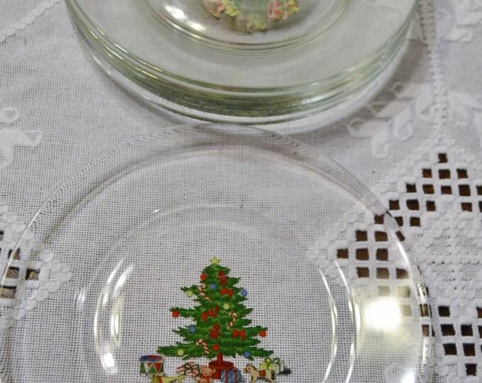 Vintage Christmas Tree Plate Set of 7 Glass Dessert Plate France PanchosPorch