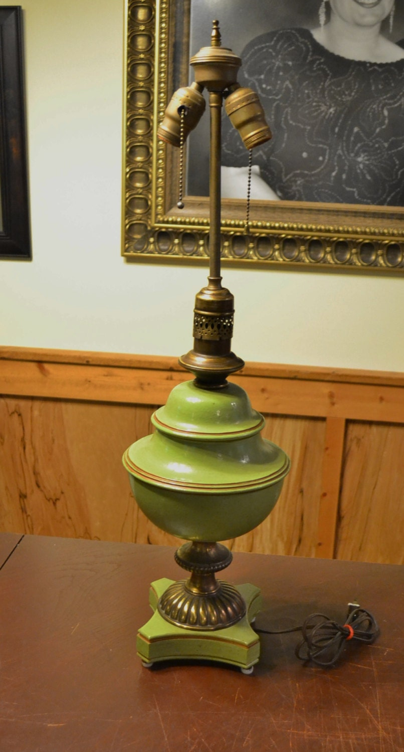 RESERVED Vintage Table Lamp Green with Brass Tall Accent