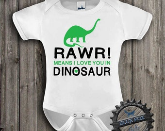 Dinosaur Baby Shirt-Rawr means I love you in Dinosaur-Cute baby clothes-Dinosaur Kids Shirt-Baby shower gift |Blue Fox Apparel-301