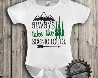 Camping baby clothing-Baby Clothes-Outdoor Baby Clothing-Scenic Route-Adventure-Baby bodysuit-cute baby clothes-Blue Fox Apparel-306
