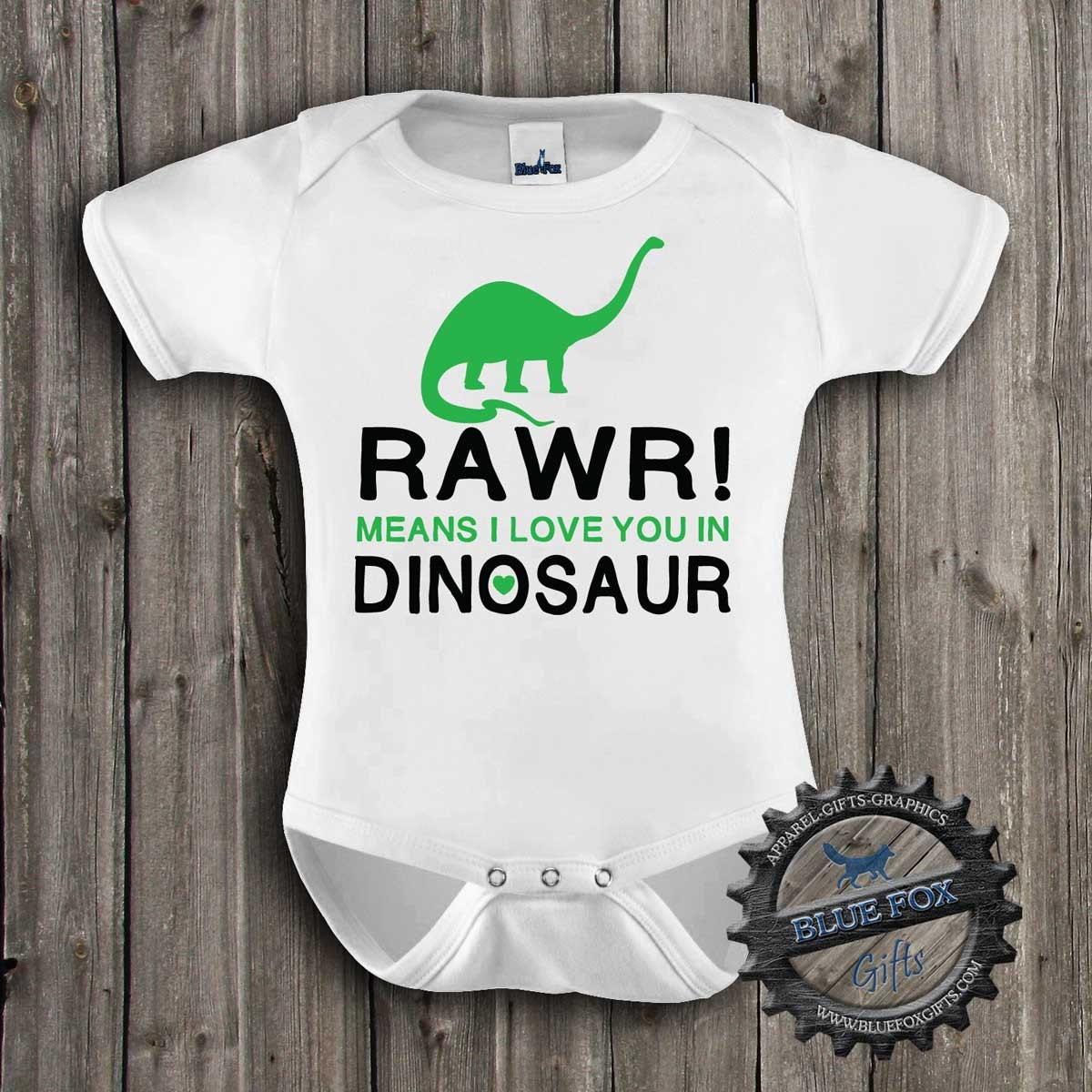 Dinosaur Baby Shirt-Rawr means I love you in Dinosaur-Cute