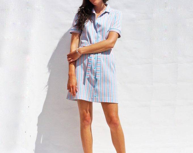 60's Mini Dress, Pastel Short Sleeved Dress, Summer Dress, Short Sleeved Dress, Pastel Sun Dress, Sun Dress, 60s Mini Dress, Shirt Dress