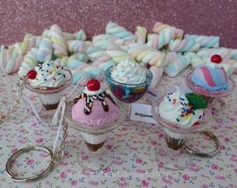 Littlest Sweet Shop parfait trifle realistic keychain deco-den. Kawaii keychain