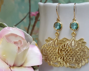 Gold Aquamarine Earrings, Blue Topaz Jewelry, Gold Pendant, Light Turquoise Earrings, Light Blue Bridesmaids, Prom, Maid of Honor, E2440