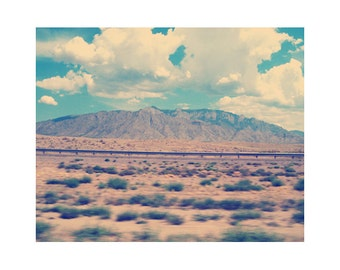 Landscape photography, highway photography, travel photography, New Mexico art, southwestern photography, vintage style 11x14 art print