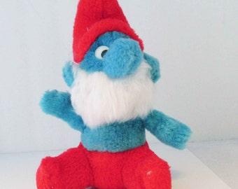Small Papa Smurf Plush Toy Doll Stuffed Vintage 1980s