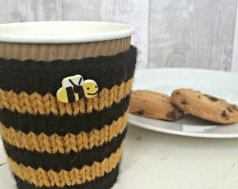 Bee Striped Knit Coffee Cozy, Yellow and Black Cup Sleeve, Knitted Cup Cozy, Reusable Coffee Sleeve, Bee Keeper Gift