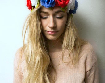 Flower Crown Headband, Coachella, Music festival, Rave accessory -Red White & Blue Roses, American patriotic crow