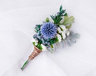 Men's wedding boutonniere, Lapel pin, Buttonhole, Groomsmen, Echinops, Blue thistle - SILVER