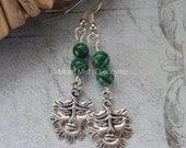 Tibetan silver Green Man and Green Malachite Bead Drop Earrings Silver-plated Hooks.