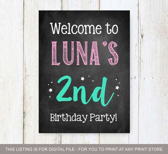 2nd Birthday Welcome Sign Second Birthday Decoration