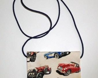Antique Car cross-body pouch   velcro closure