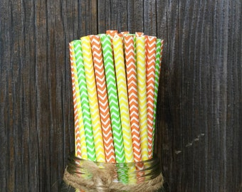 75 Lime Green, Yellow and Orange Chevron Paper Straws - Picnic, Party Supply - Free Shipping!