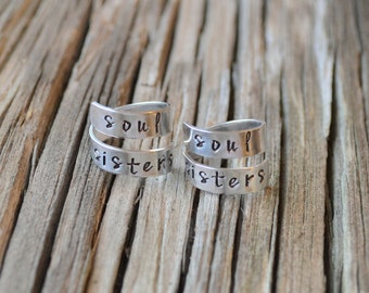 Best friend rings / Soul Sisters/ Best Friend Gift/ Sister Gift / personalized jewelry / BFF gift / Bff rings /stocking stuffer/unique gifts