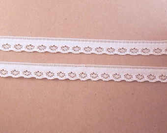 "White lace sewing Trim  - 10 Yards of 3/8"" White Scalloped Floral Flat Picot Lace Trim - Narrow White Trim - 10 mm Lace trim #07-01-14"