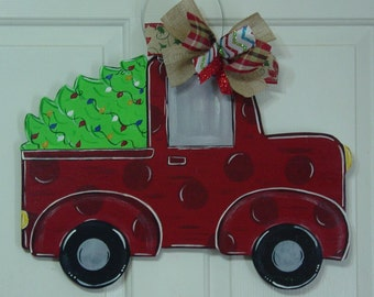 Christmas Red Truck Door Hanger with Tree Wall Welcome Sign