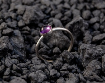 Handmade 6mm Amethyst ring, sterling silver, stacking ring, purple ring, skinny ring