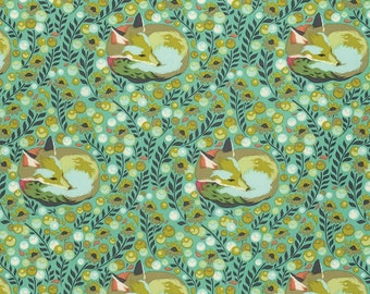 Tula Pink Fabric, Tula Pink chipper - Chipper Collection Napping Fox - Free Spirit PWTP080 Mint - Priced by the Half yard