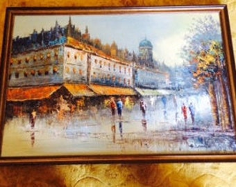 Paris Street Scene Painting H Lemon French Canvas   REDUCED 50%