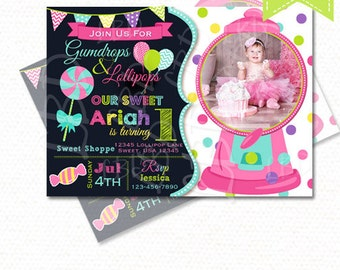 Sweet Shoppe Birthday Invitation, CandyLand Invitation, Sweet Shoppe Party, 1st Birthday, Chalkboard Invitation, Any Age, Style 22