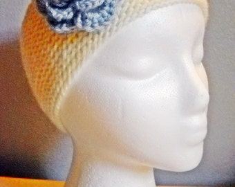 White Wedding Headband with Light Blue Flower