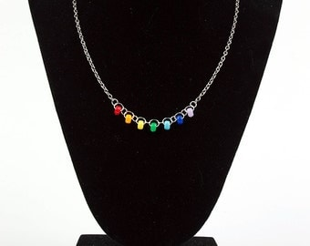 Rainbow Beaded Silver Chain Necklace
