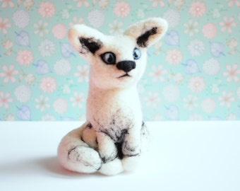 Needle felted white arctic fox - White Fox, Plush, Sculpture, Animal, Forest, The Little Prince, Le Petit Prince, Nature, Winter