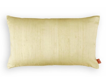 "Silk pillow, cream color,  lumbar pillowcover, size 12""X20"""