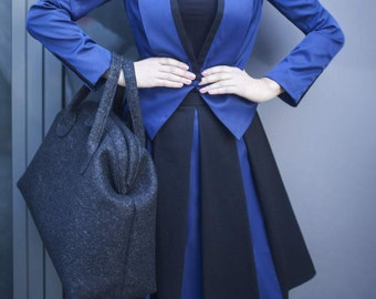 Black / blue pleated skirt, knee length, midi skirt, made to order, plus size,