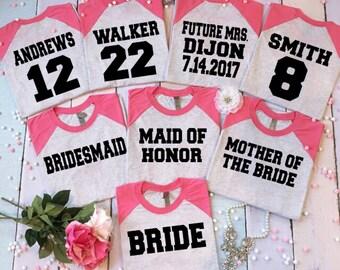 9 Bachelorette Shirts Bridesmaid Baseball T Set Of Wedding