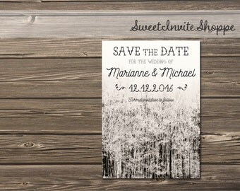 Rustic Mountain Save The Date, Forest Wedding, Winter Forest Save The Date, Country Wedding, Winter Mountain Invitation, Woodsy Invitation