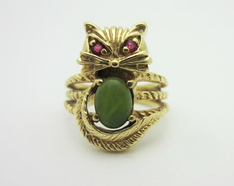 Adorable Vintage 14k Yellow Gold Cat Ring