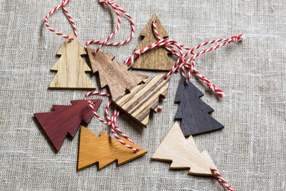 8 pieces set. Xmas tree. Wood decoration for Christmas tree. Christmas toys. 8  Exotic wood. Gift. Handmade wood decor. Rustic style. 2016