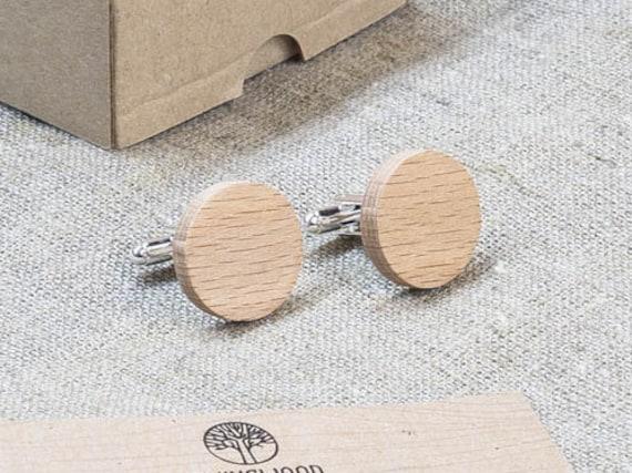 Beech Wood Cufflinks. Personalized Cuff Links. Laser Engraved Monogrammed Initial Cufflinks. Сustom cufflinks. Groomsmen Gift. Xmas