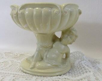 Vintage Shabby Chic Planter Cherub Vase French Provencial Footed Planter