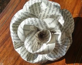 Book Page Rose hair clip, barrette, or brooch