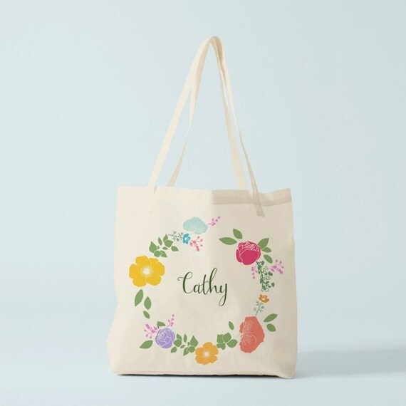 Tote Bag, Name gift, custom tote, cotton bag, flowers Wreath, custom bag, groceries bag, novelty gift, gift sister, gift colleague.