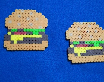 Hamburger 8-Bit Perler Brooch/Magnet