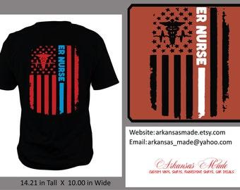 ER Nurse distressed American flag custom nurse shirt, Design on back, Emergency nurse, trauma nurse, RN, LPN, Nurse shirt, nurse gift