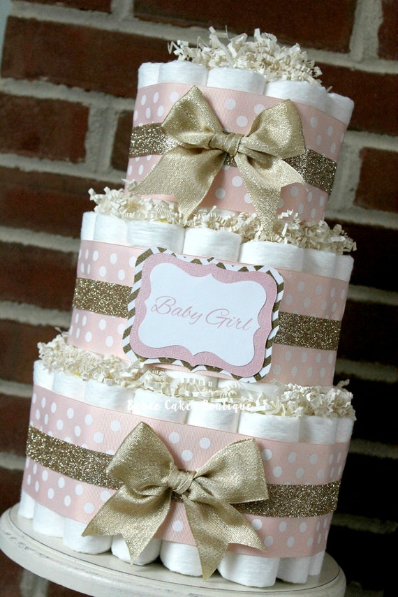 3 tier blush pink and champagne gold diaper by for Pink diaper bouquet