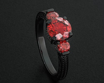 Black Gold Filled Ring Round Cut Ruby Red CZ  Diamond Rings Multistone